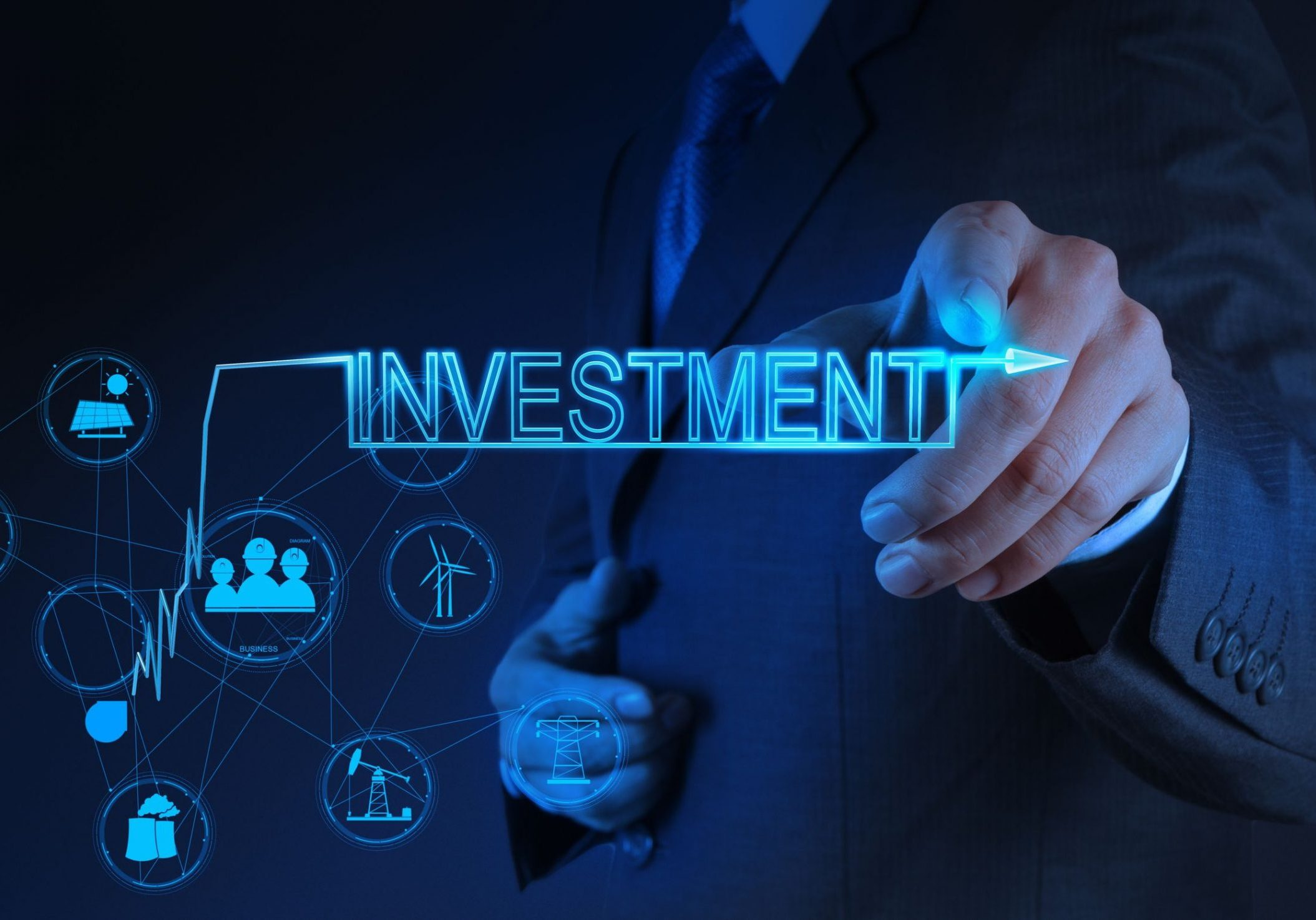 18237500 - businessman hand pointing to investment as concept